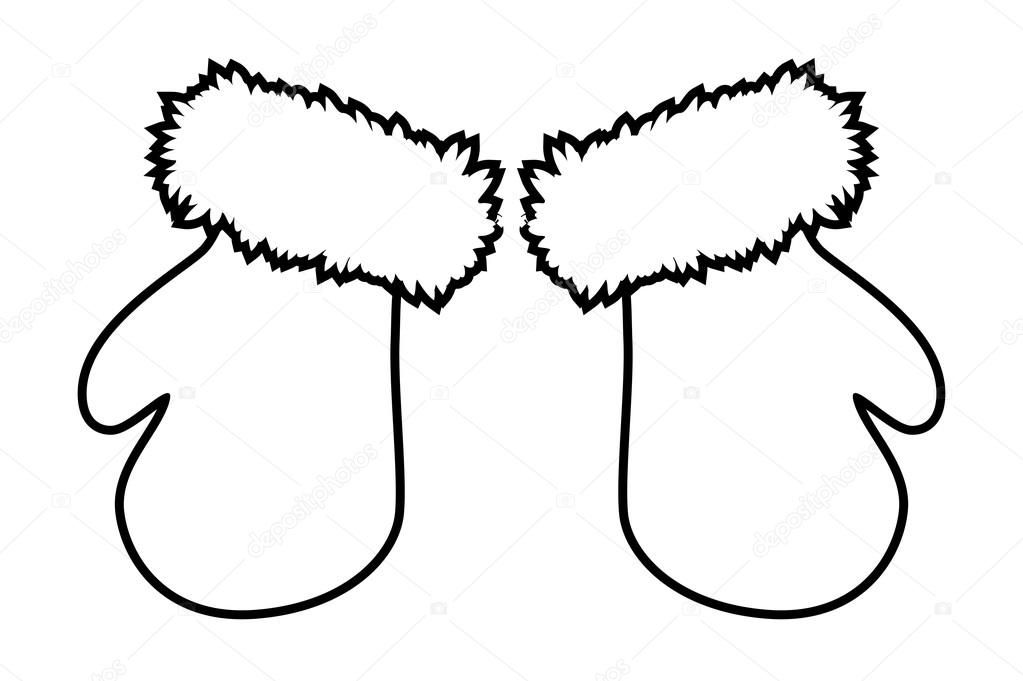 Black and white cartoon. Mittens clipart simple