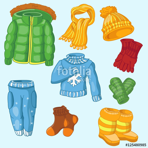 Mittens clipart snow jacket. Winter clothing set consisting