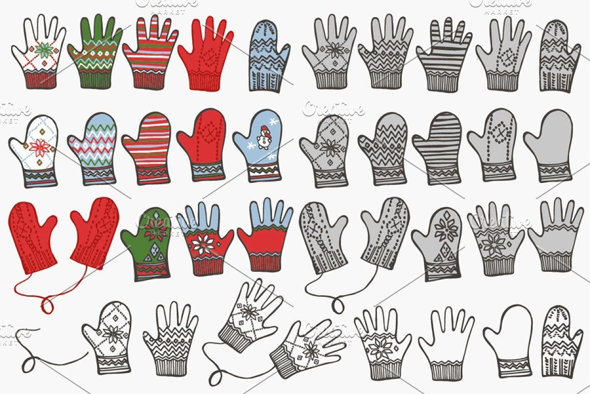 Mittens clipart warm glove. Knitted gloves and doodle