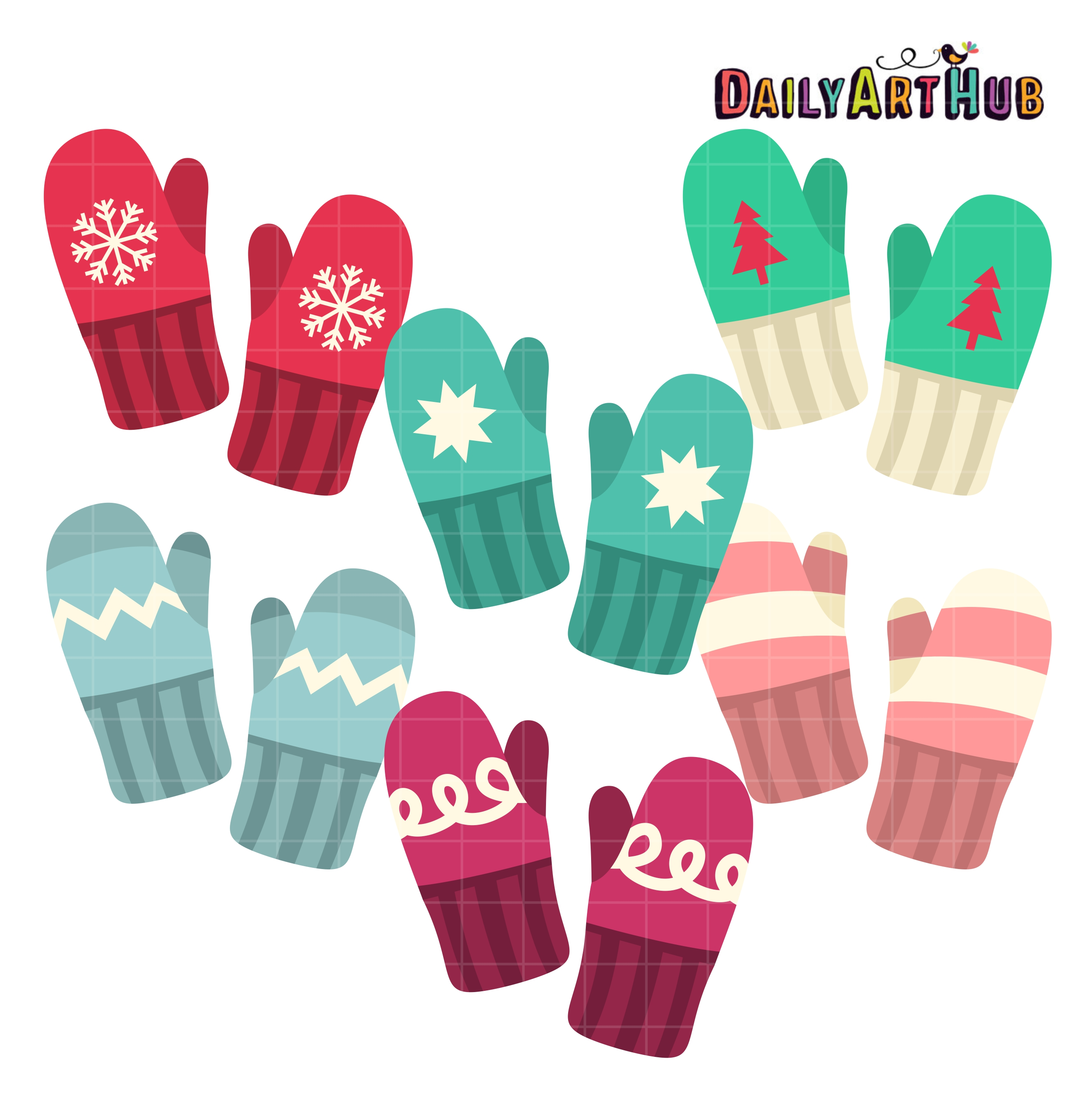 Clip art set . Mittens clipart winter thing