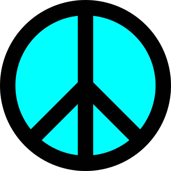 Peace clipart symbolism. Black and turquoise symbol