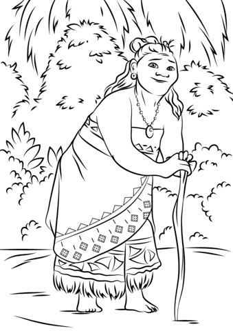 Moana clipart coloring. Gramma tala from page