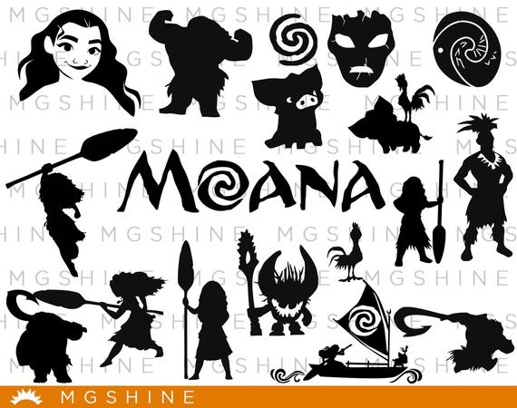 Svg for cricut silhouette. Moana clipart vector