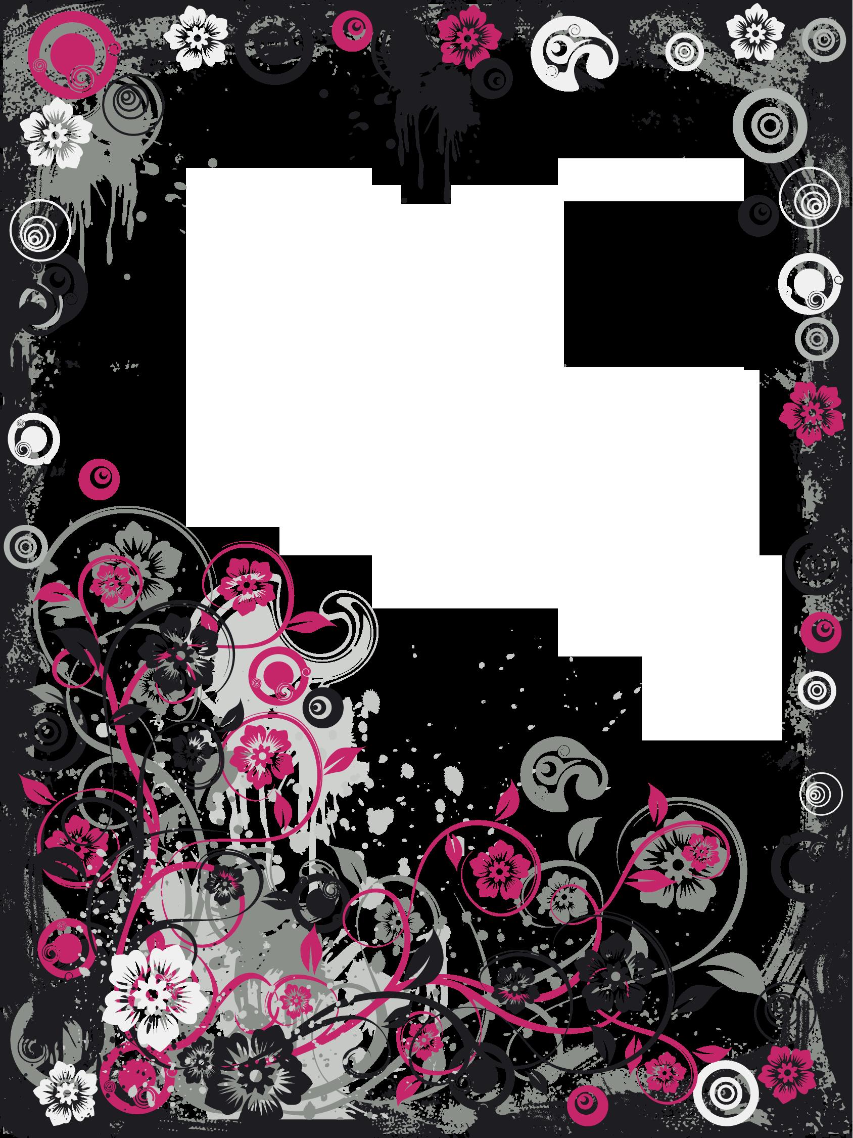 Modern frame png. Black and pink transparent