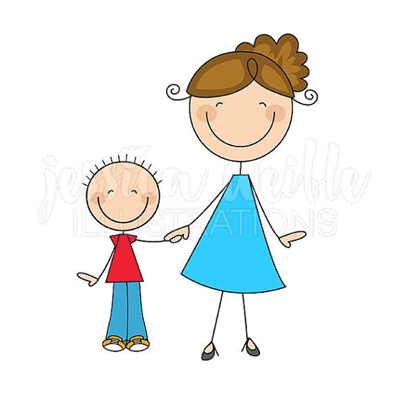 Mom and stick figures. Son clipart