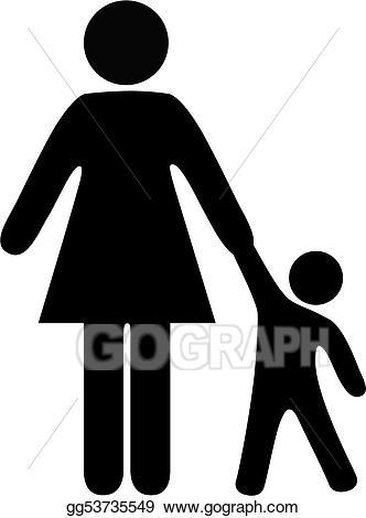 Toddler clipart symbol. Eps illustration people mom