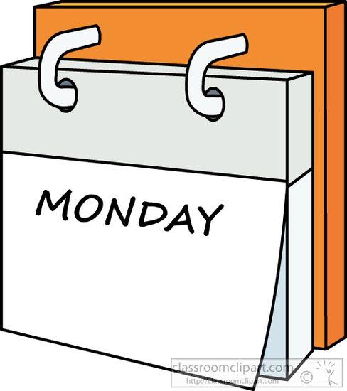 Monday clipart. Calendar day week classroom
