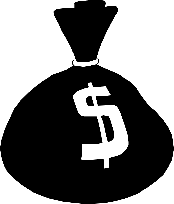 Money clip art black and white. Clipart