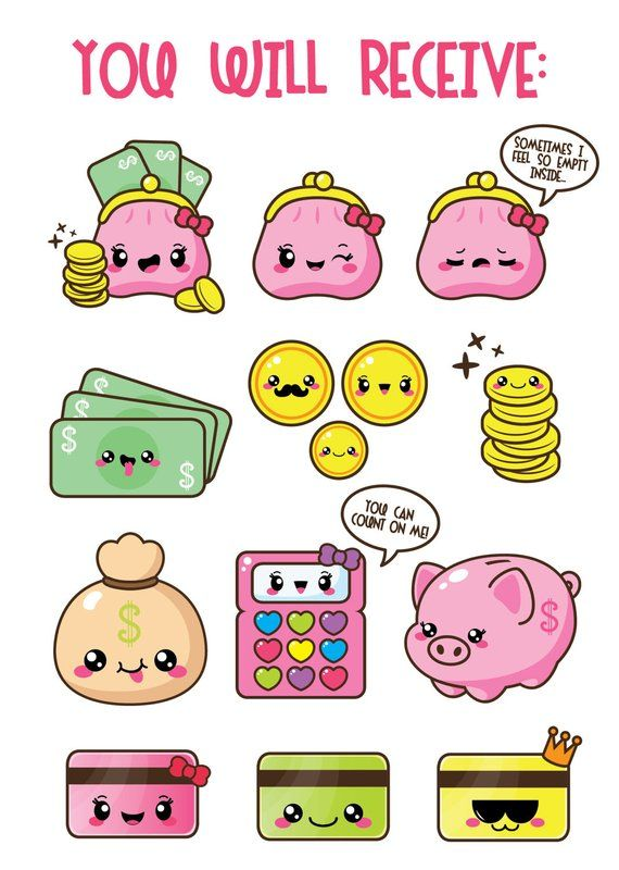 Budget clipart cute. Kawaii money coin