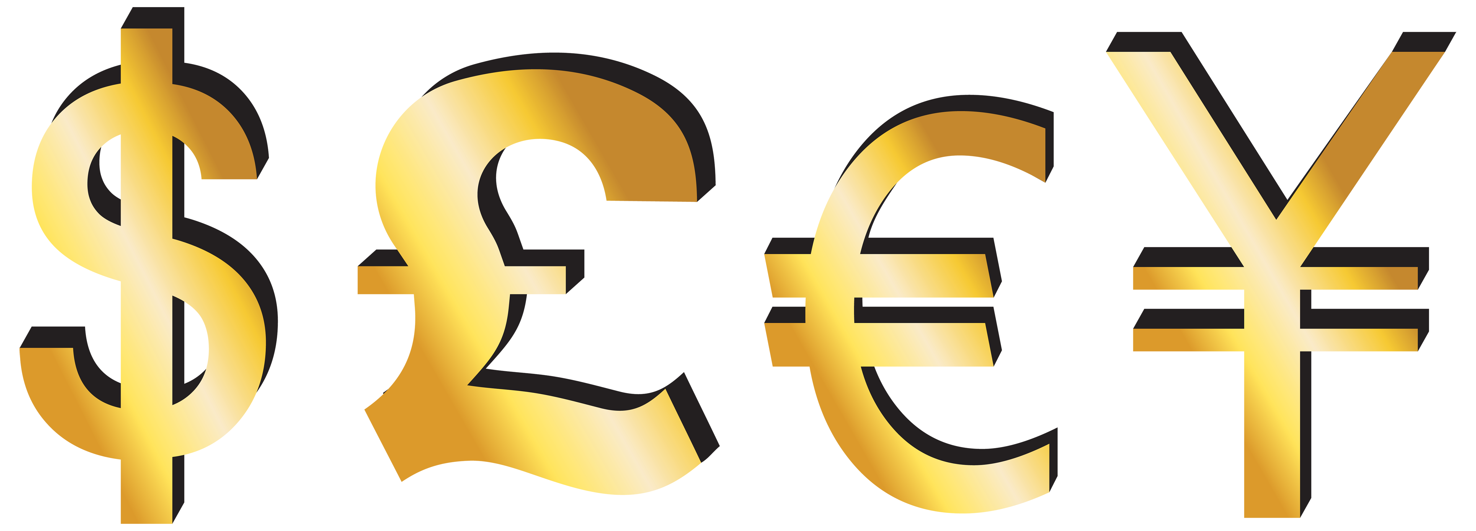 Money signs png. Dollar pound euro yen