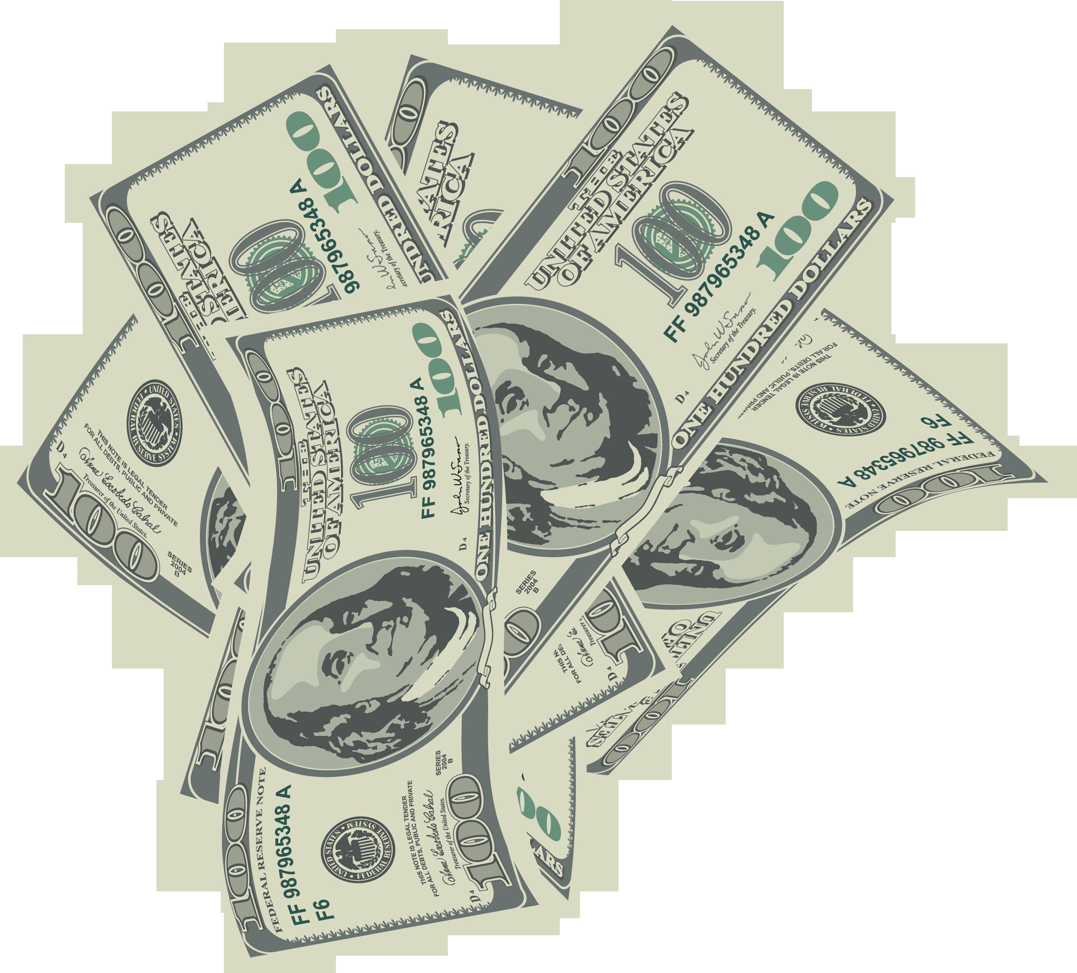 Large transparent dollars bills. Money clip art million dollar