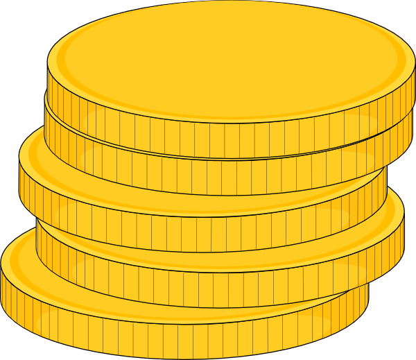 Gold clipart coin. Money stack of coins