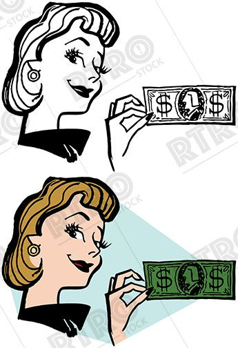A smiling woman holds. Money clip art retro