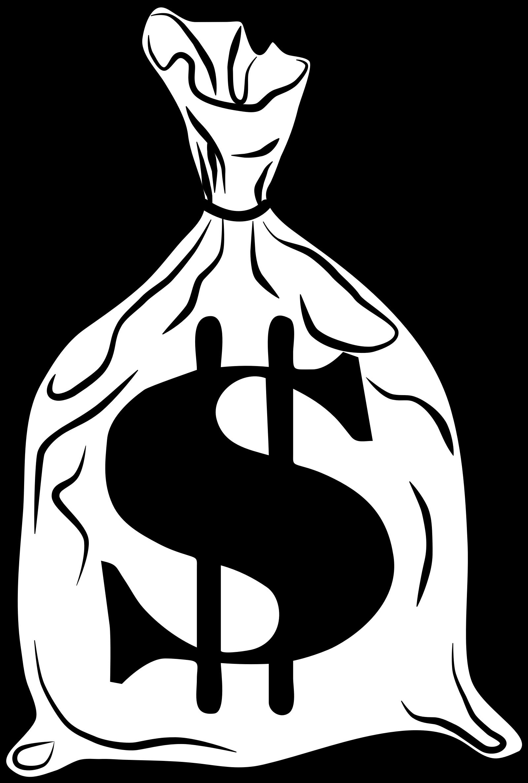 Money clip art silhouette. Bag bank transprent png