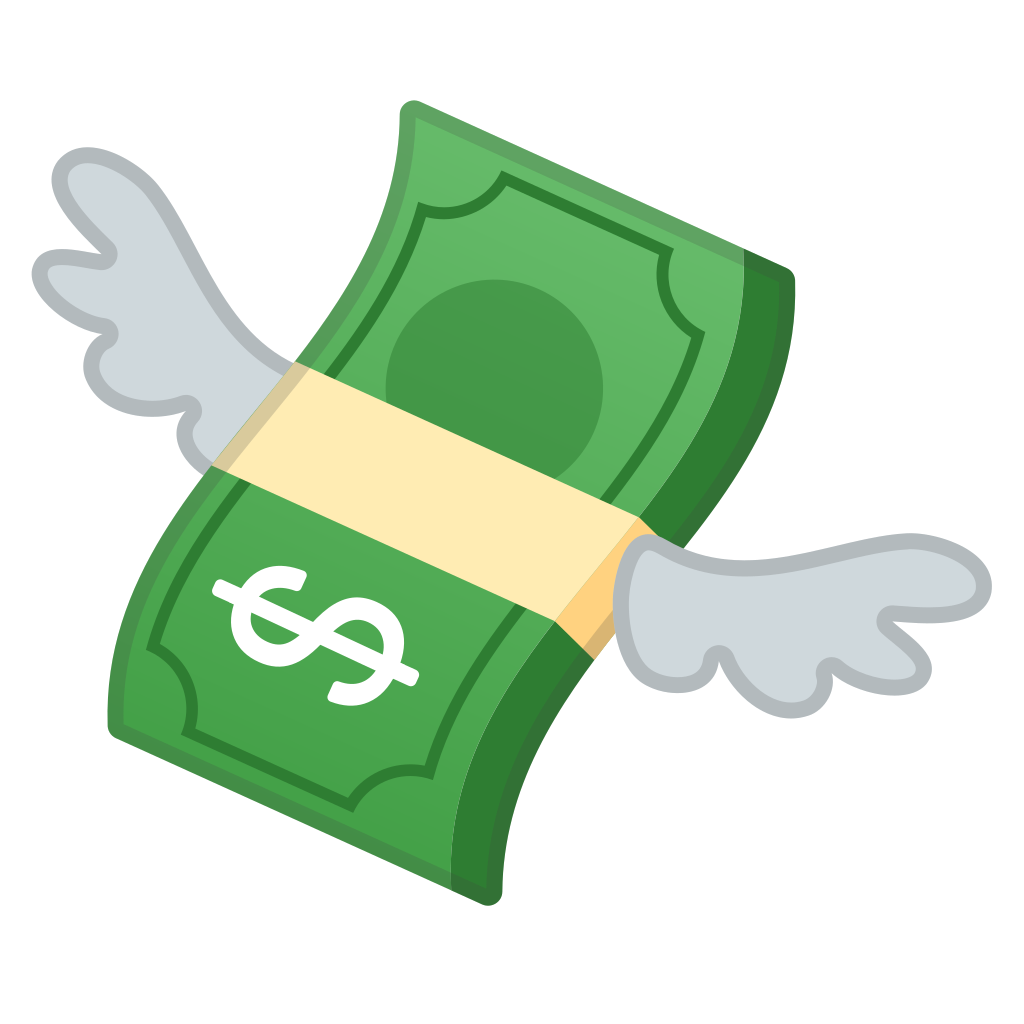 With wings icon noto. Money emoji png