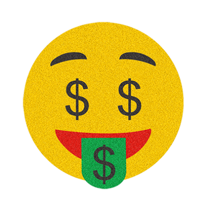 Design with glitter . Money face emoji png