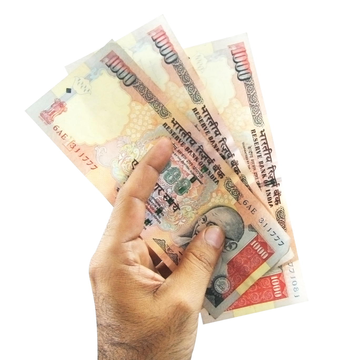 Indian currency transparent image. Money in hand png