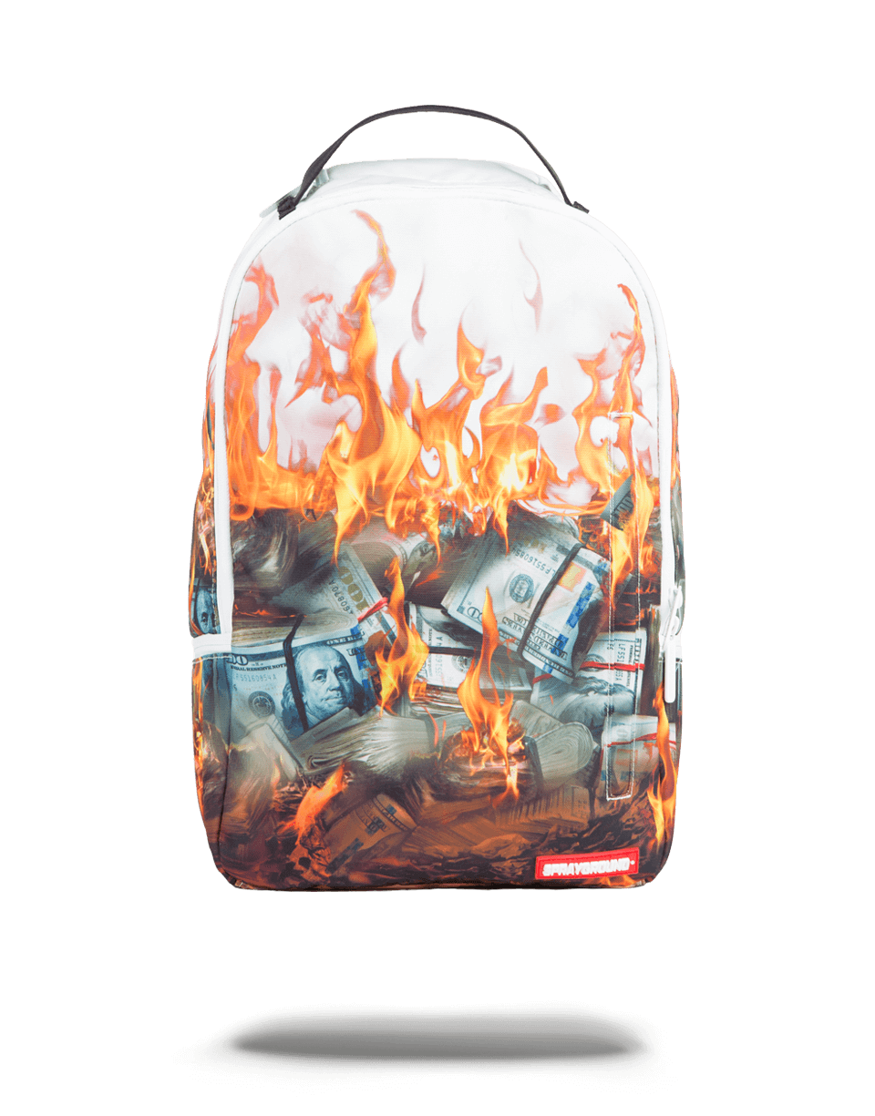 Money on fire png. Sprayground white back pack