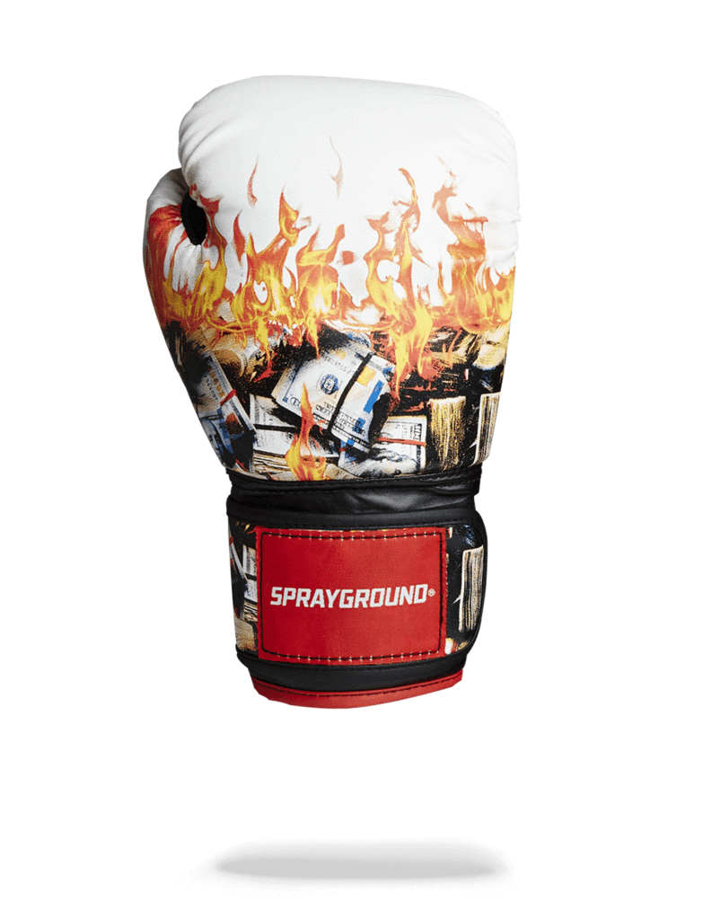 White boxing gloves sprayground. Money on fire png