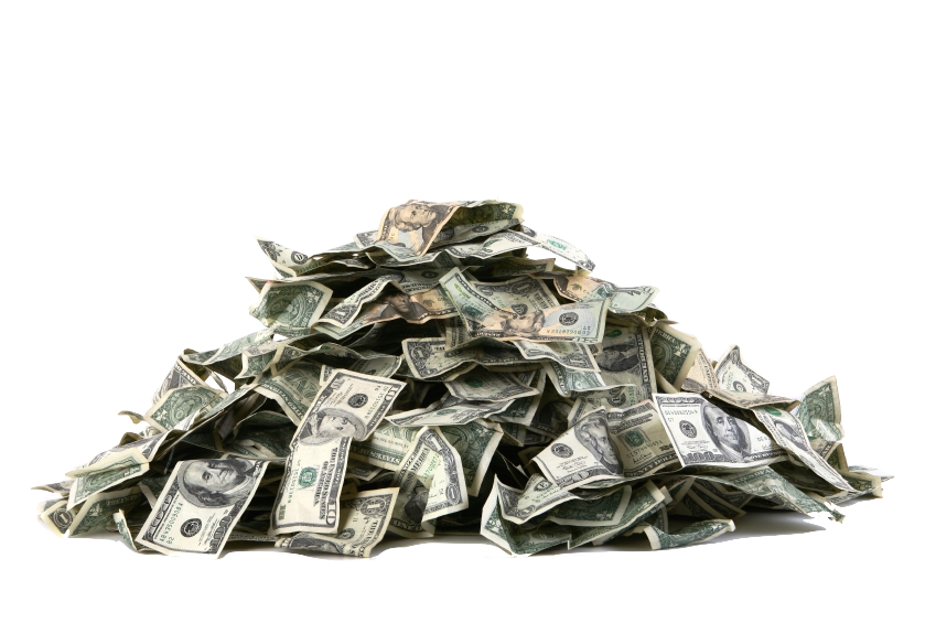 Work from home moneypile. Money pile png
