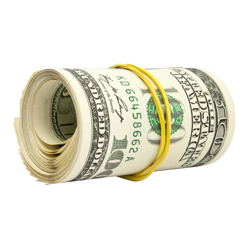 Search engine optimization payment. Money roll png