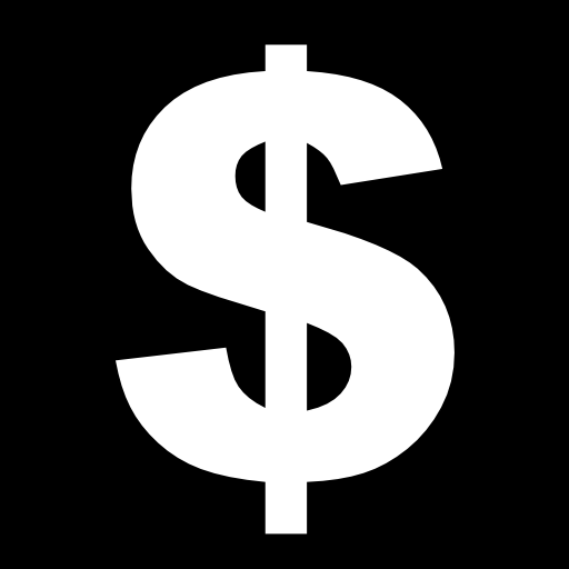 Money sign icon png. Dollar in a square