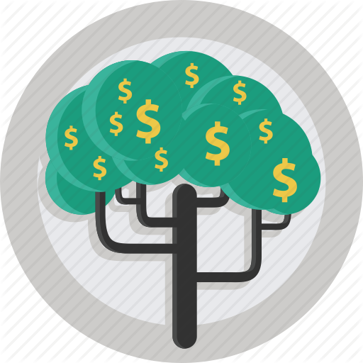 Shopping by flat icons. Money tree png