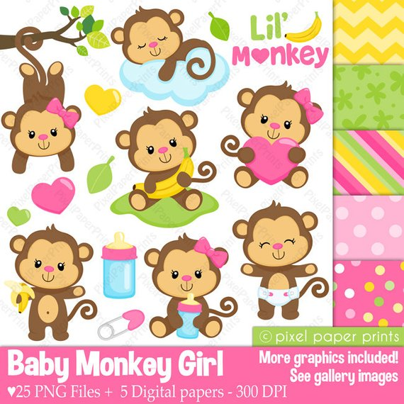 Monkey clipart baby girl. And digital paper set