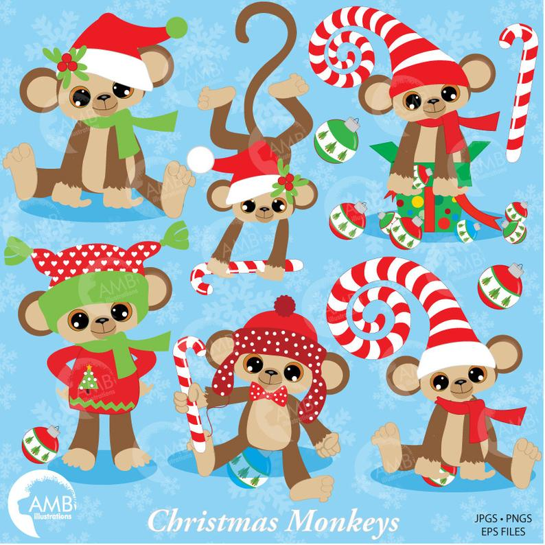 Card design candy cane. Monkey clipart christmas