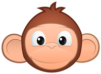 Printable coloring pages cartoon. Monkey clipart kid