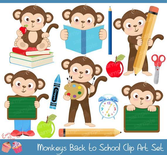 Monkey clipart school. Monkeys back to set