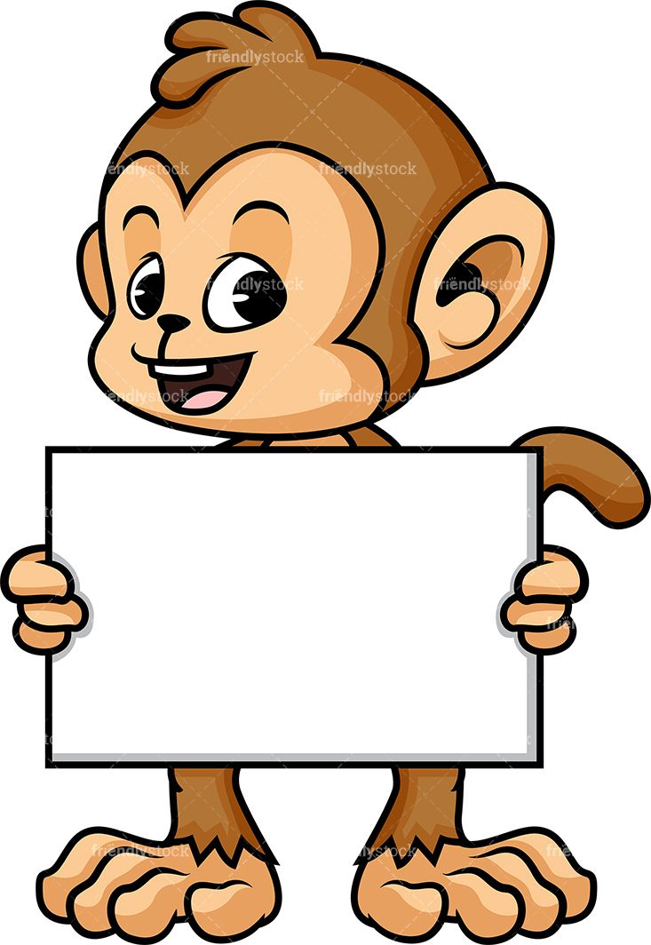 Monkey clipart sign. Holding empty doodle drawings