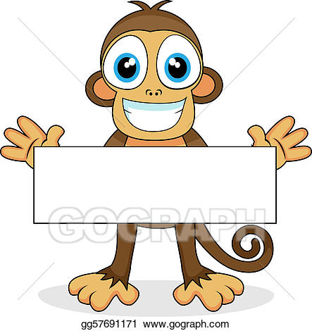 Vector cute with blank. Monkey clipart sign