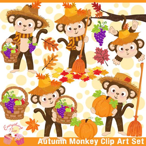 Monkey clipart thanksgiving. Autumn set