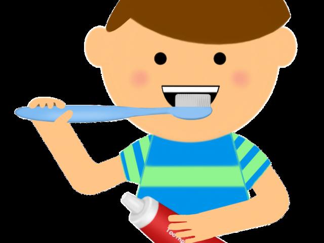 Boy brushing teeth free. Mouth clipart brush