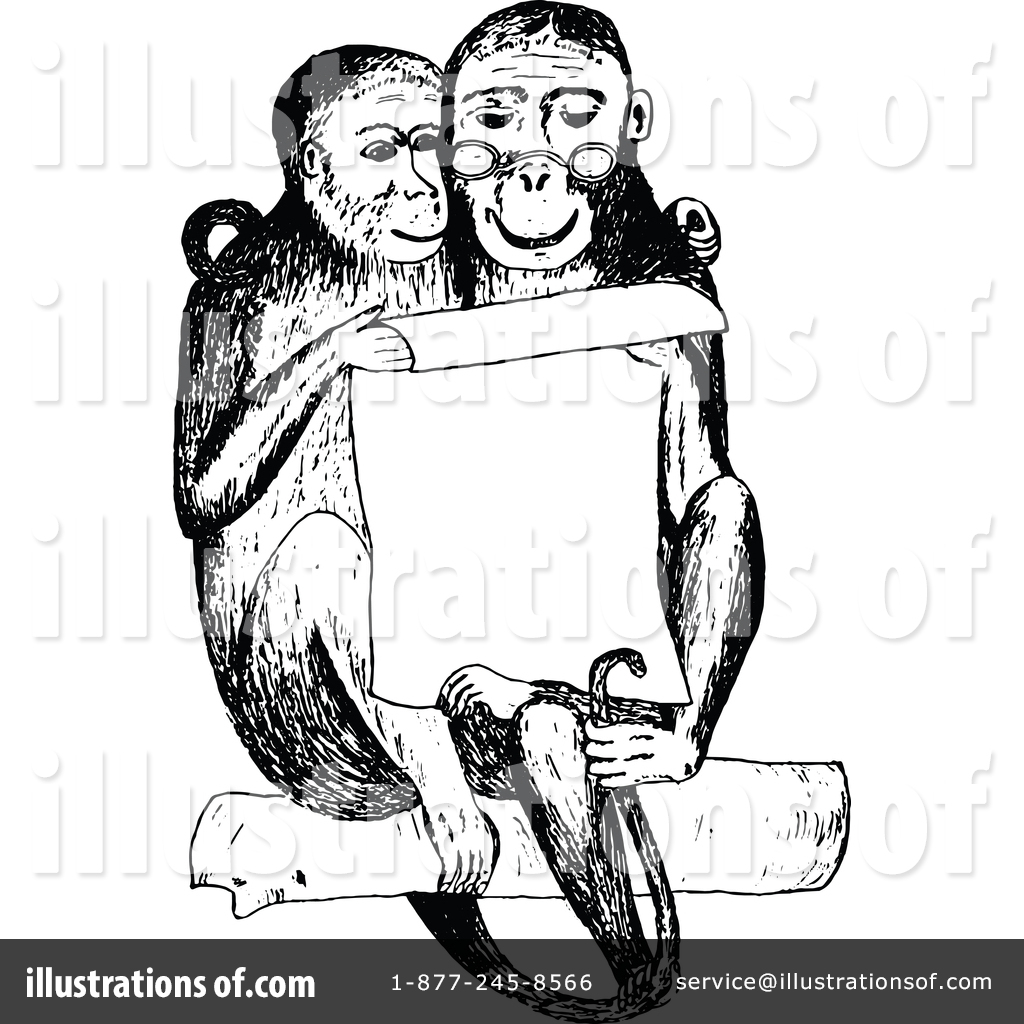 Monkey clipart vintage. Illustration by prawny