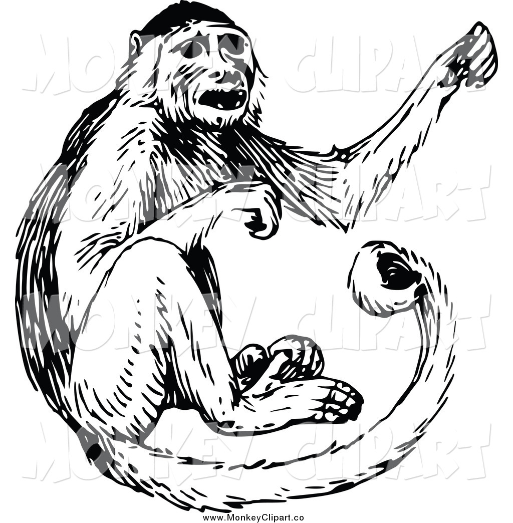 Black and white clip. Monkey clipart vintage