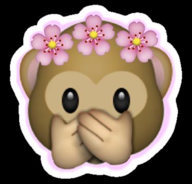 Transparent emojis bing images. Monkey emoji with flower crown png