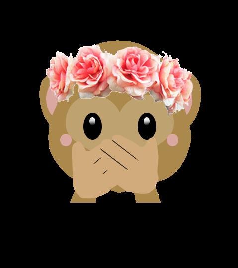 Monkey emoji with flower crown png. Aesthetic emojiedit flowercrown pin