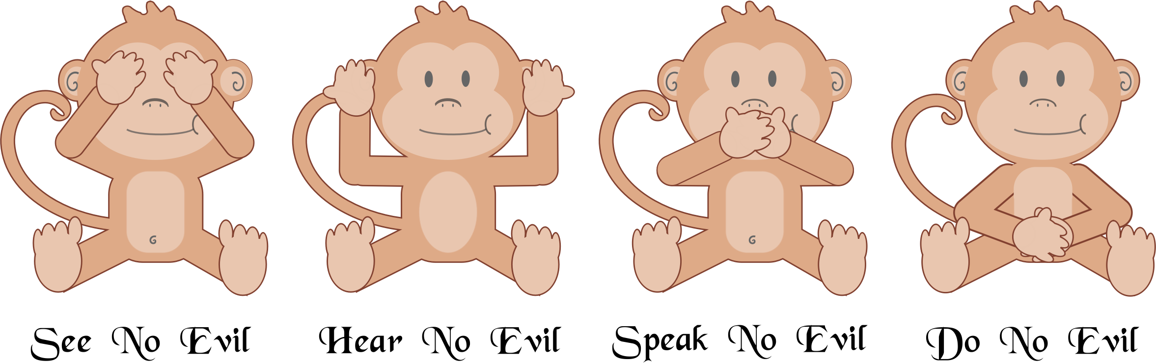 Monkeys clipart number. The four wise big