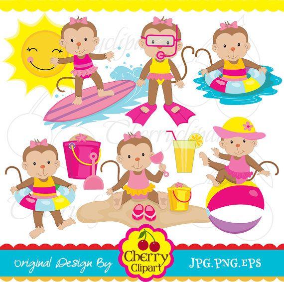 monkeys clipart summer