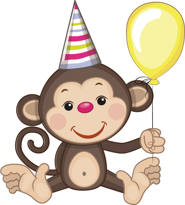 Birthday greeting card cartoon. Monkeys clipart toy