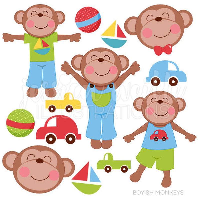 Monkeys clipart toy. Boyish cute digital for