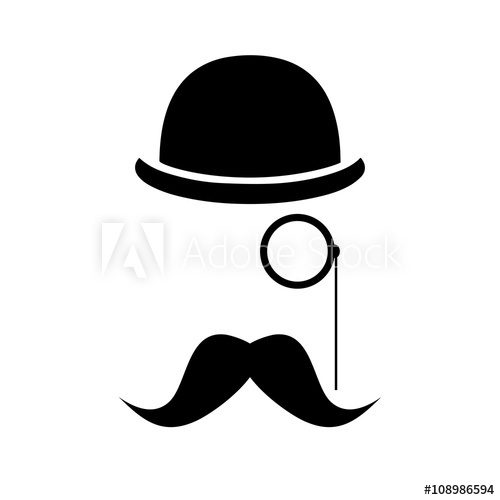 Abstract vector hipster silhouette. Moustache clipart hat derby