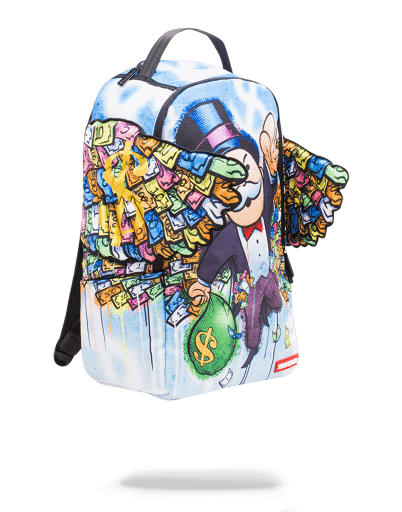 Wings sprayground backpack. Monopoly money png