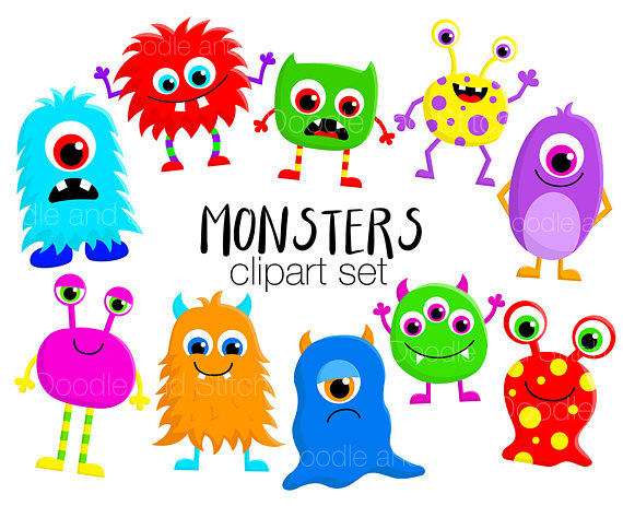 Monster clipart. Set cute monsters clip