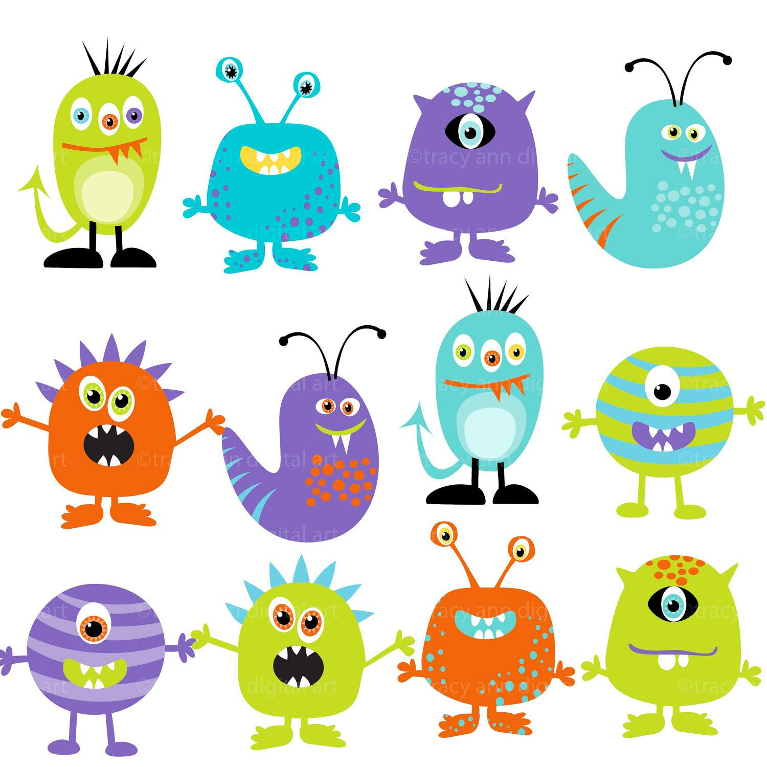 Monster clipart. Digital monsters set of
