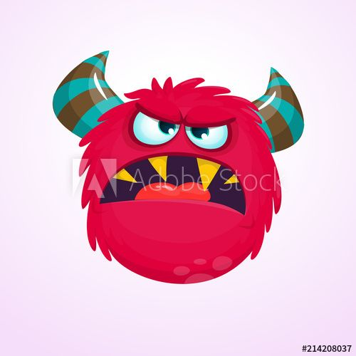 Cartoon red emotion halloween. Monster clipart angry monster