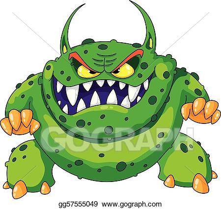 Monster clipart angry monster. Vector green illustration