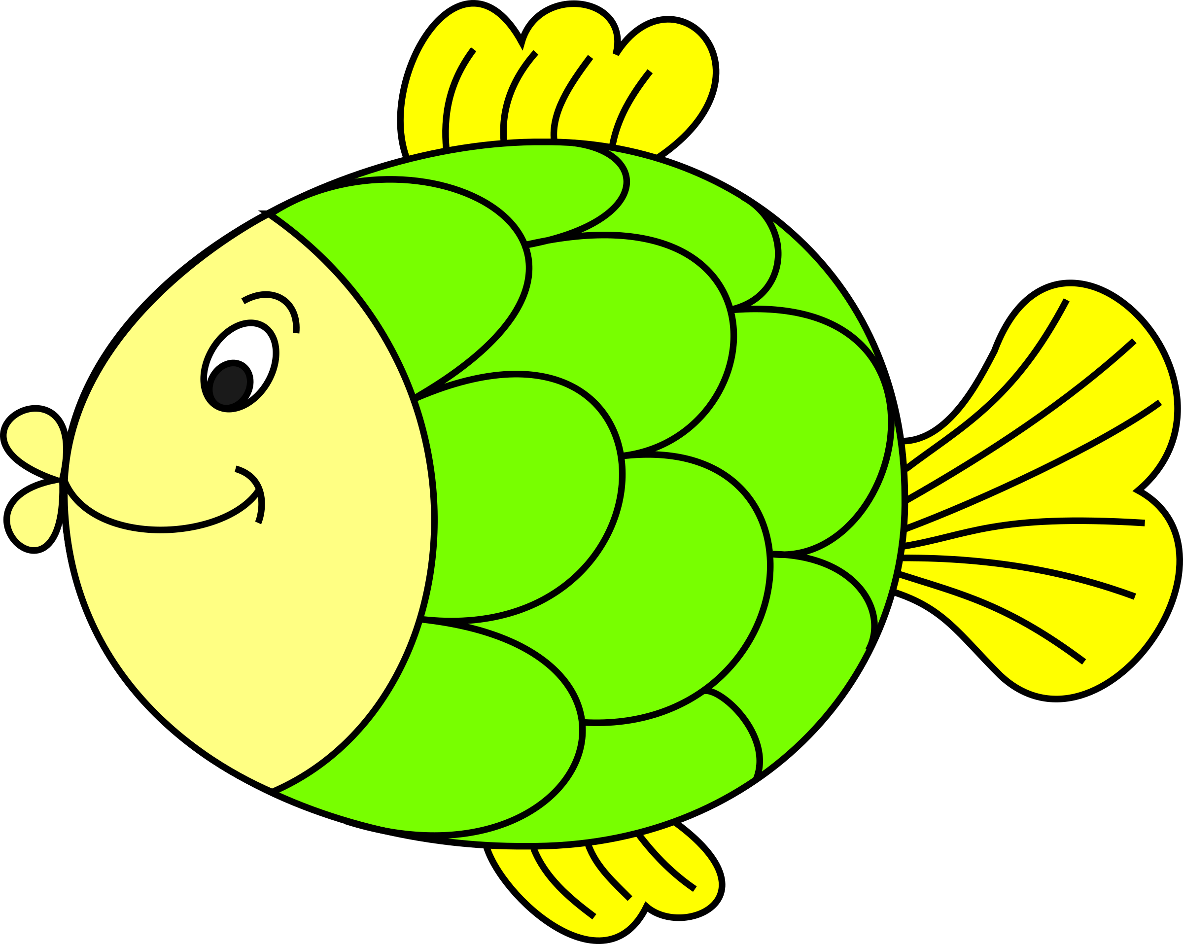 Fish coloured big image. Monster clipart colourful